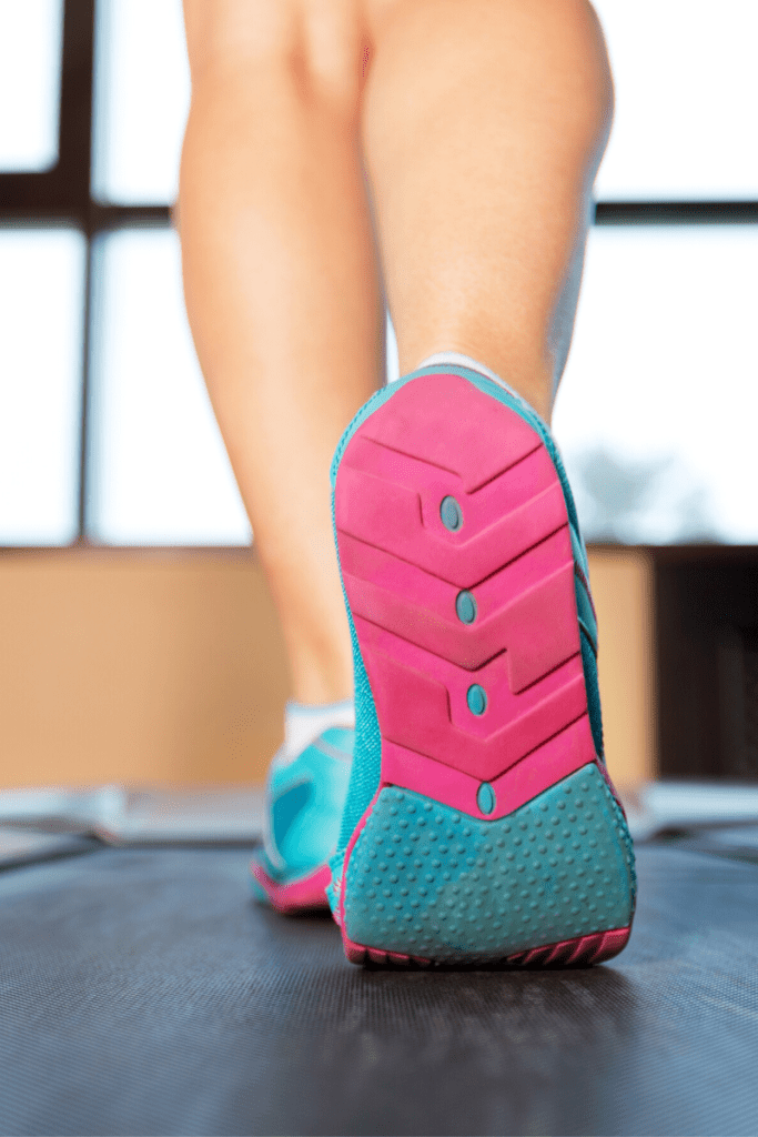 person walking on treadmill, a very good exercise choice for overweight women