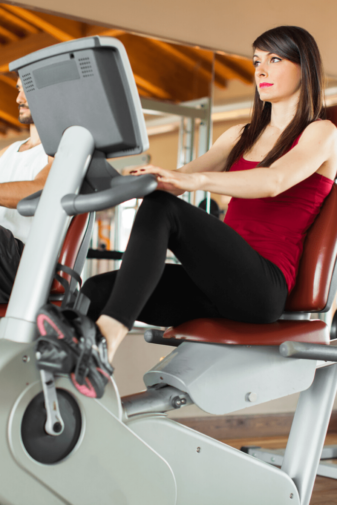 woman on recumbent bicycle, an excellent exercise choice for obese women