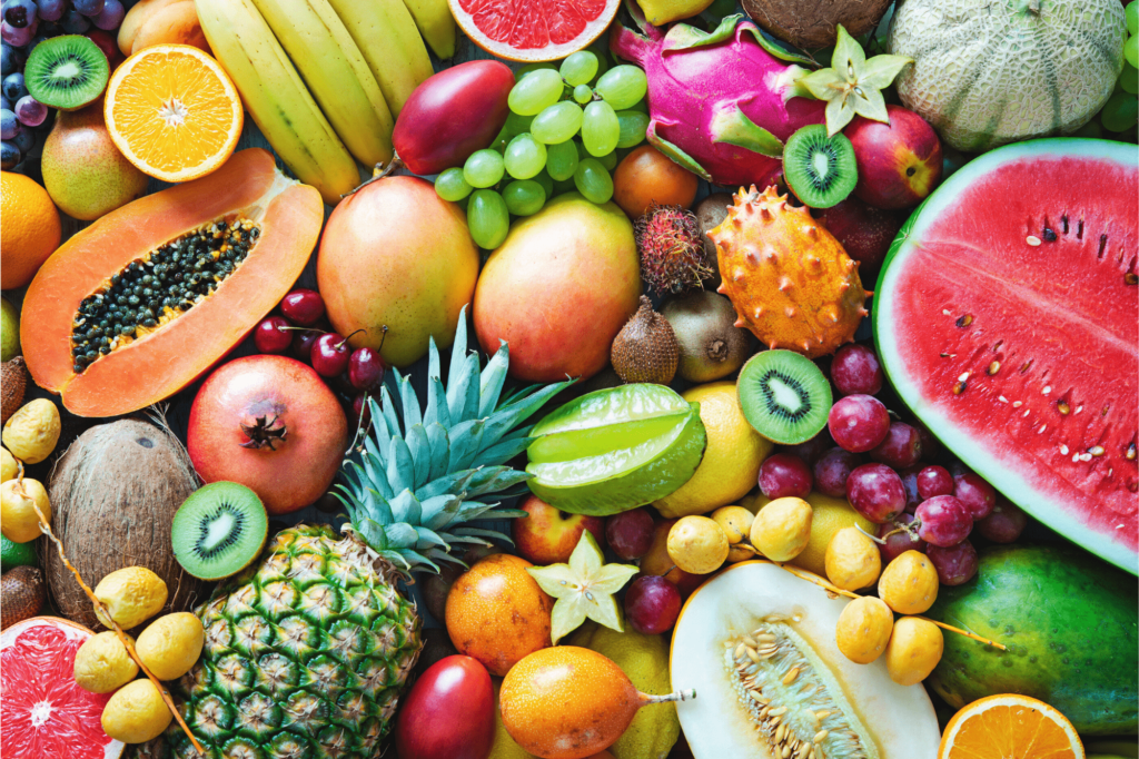 fruit is high in fiber and good for weight loss. various fruits, pineapple, watermelon, mangoes, papaya, bananas, oranges, kiwi fruit