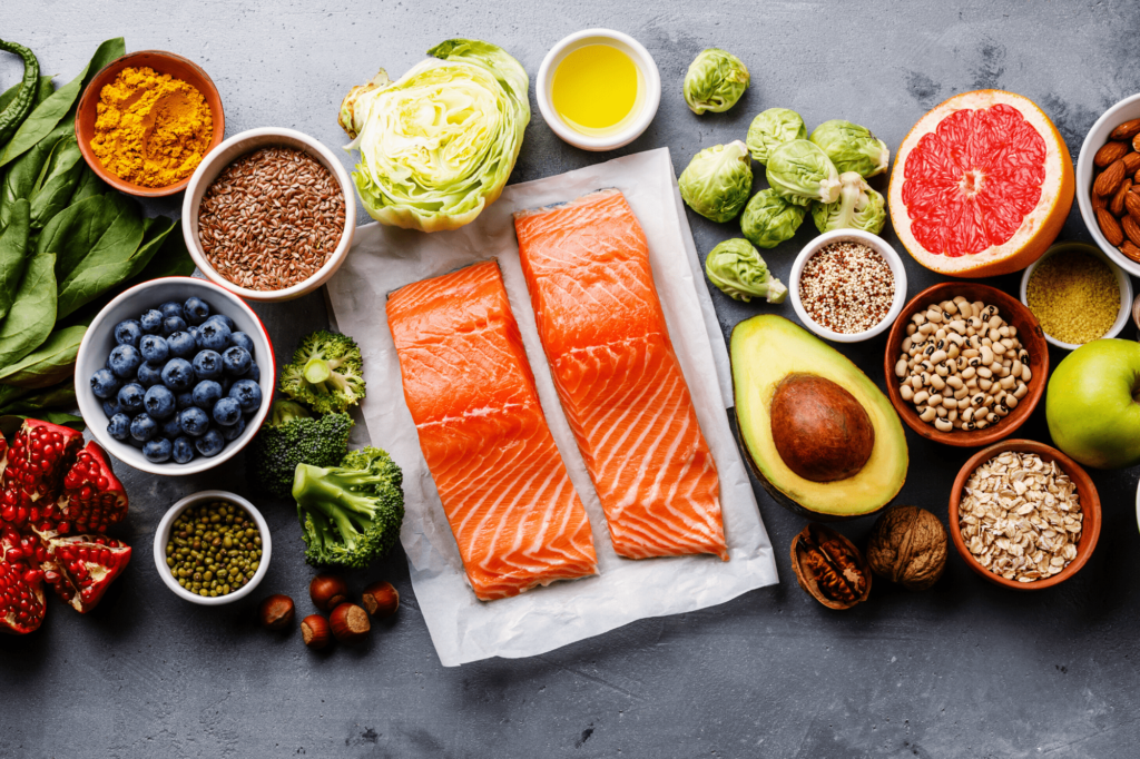 healthy foods including salmon, broccoli, avocado, blueberries are better for weight loss