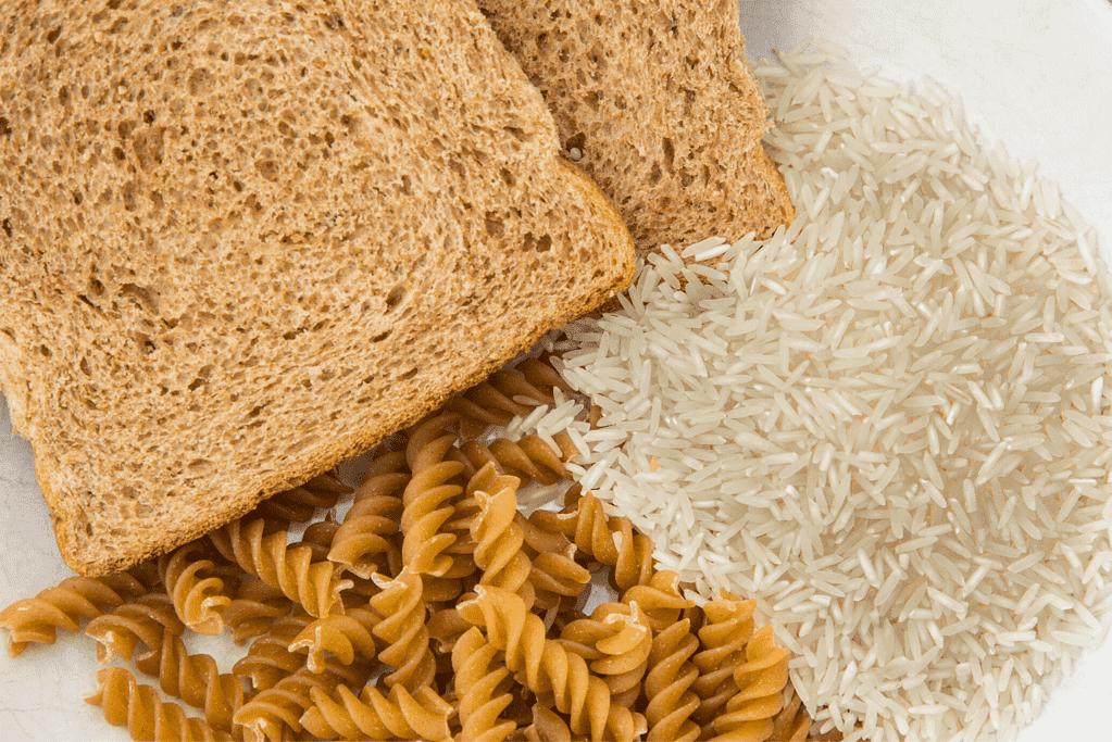 whole grain bread, while grain pasta and brown rice